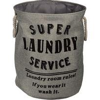 Touslescadeaux - Panier à Linge Design Deluxe Laundry Gris Taupe - Stable et Pratique