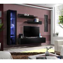Asm-mdlt - Ensemble meuble Tv mural Fly-g noir de haute brillance avec Led