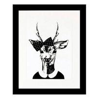 G&C Interiors - Cadre décoratif Tête de cerf noir et blanc en bois Mdf et verre Trophy