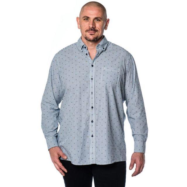&TRADITION Chemise blanche à ligne grise motifs rectangle