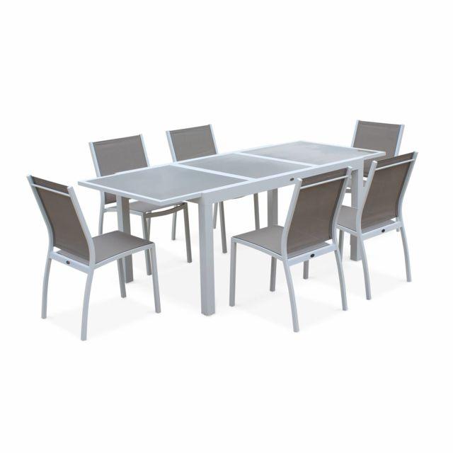 Alice 39 s garden salon de jardin table extensible orlando taupe table en aluminium 150 210cm - Table salon jardin verre a rallonge ...