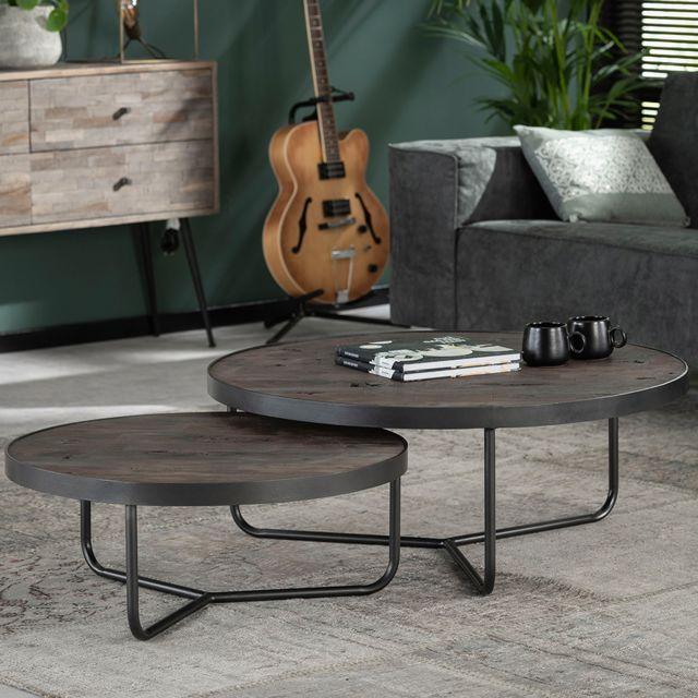 Nouvomeuble Table basse ronde gigogne en acacia foncé Kiara