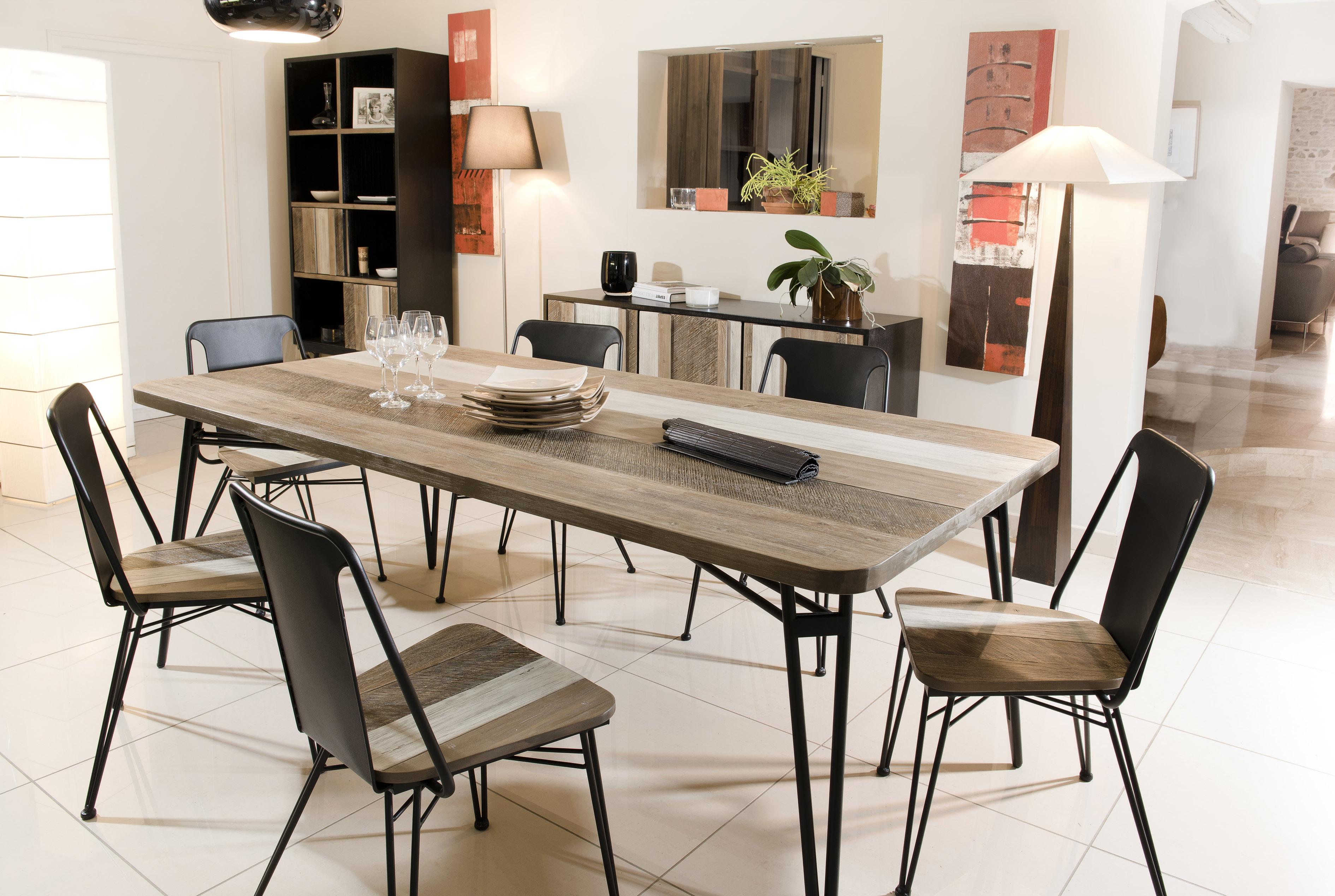 macabane table manger marron 10 personnes 200cm x 77cm x 100cm non extensible pas. Black Bedroom Furniture Sets. Home Design Ideas