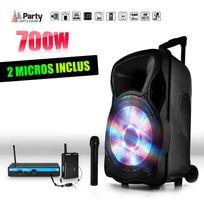 "Party Sound - Enceinte sono mobile 700W 12"" Led/USB/BT/SD/FM + Micros sans-fil/serre-tête Party12"