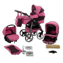 LUX4KIDS - Daytona Poussette Trio 3en1 Nacelle Siège auto Poussette Canne Roues pivotantes Accessoires 60 rose & noir & points rose