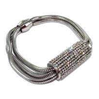 Fantzi - Bracelet en acier avec strass - fermoir aimant - 18 cm