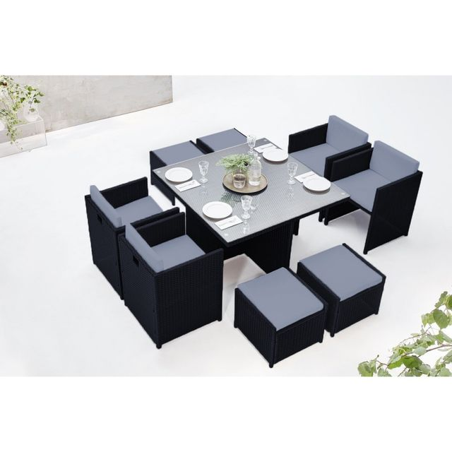 table gris noir. Black Bedroom Furniture Sets. Home Design Ideas