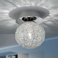 Eglo - Plafonnier sphère en métal chromé incrusté de fils argentés diamètre 10cm Prodo