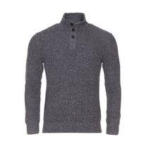 Marc O'POLO - Pull col boutonné à mailles en coton gris