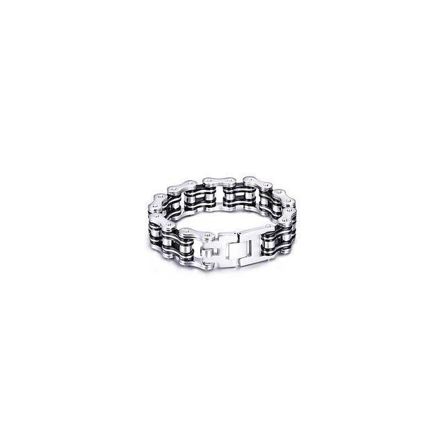 b59715d0e7bbe Alpexe - Bracelet argent et noir pour homme style chaîne de moto taille  unique. Matière   Acier