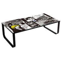 Comforium - Table basse 105 cm en verre et métal avec plateau vitré Comic