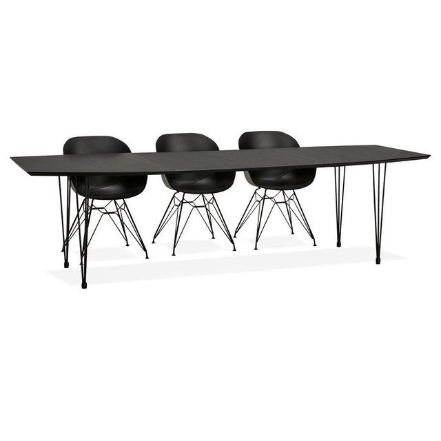 Alterego Table à dîner / de réunion extensible 'MOTUS' noire - 170 270, x100 cm