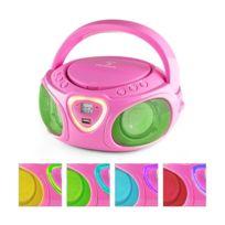 AUNA - Roadie Boombox CD USB MP3 Radio AM/FM Bluetooth 2.1 Jeu de couleurs LED - rose