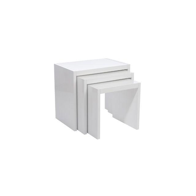 Set de 3 tables gigognes 60x40x55cm coloris blanc laqué