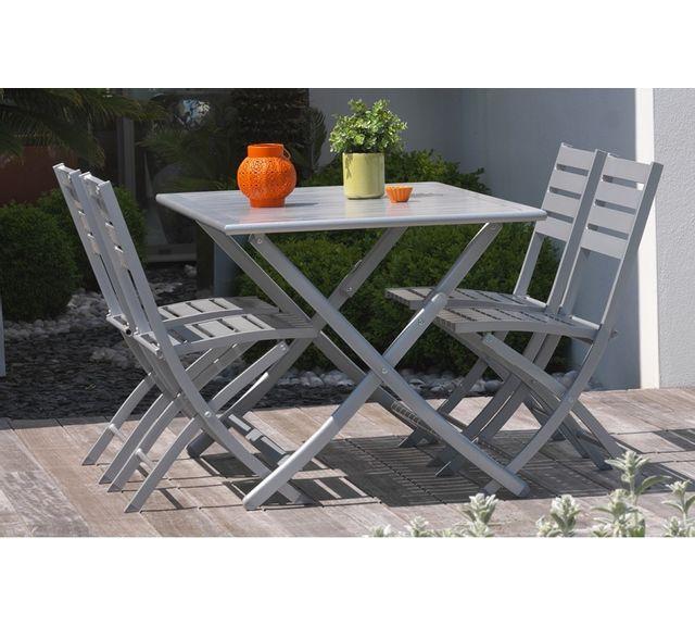 Dcb Garden Table pliante en aluminium gris métal