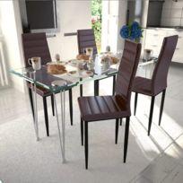 Superbe Ensembles de meubles ensemble Bakou Lot de 4 chaises marron aux lignes fines avec une table en verre