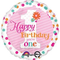 ToyCentre - Amscan Happy Birthday Girl Dots You Are One Hx Foil Balloons Standard