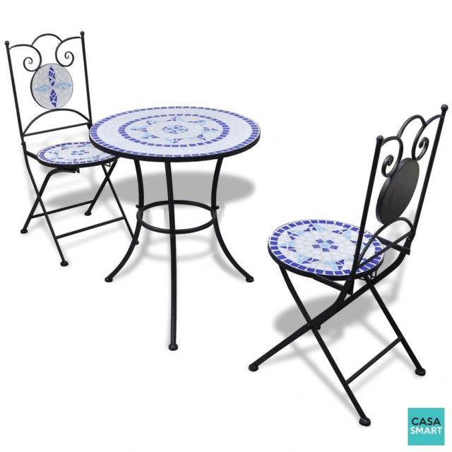 Casasmart Table en mosaïque ronde + 2 chaises bleu - blanc