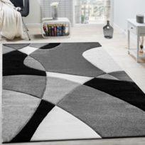 Paco-home - Créateur Tapis Moderne Géométrique Motif Découpe Des Contours En Noir Blanc 240X330