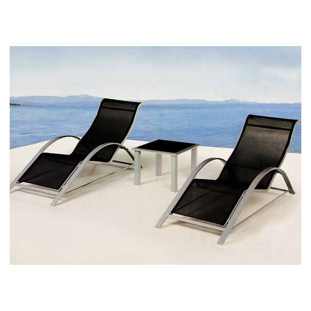 Rocambolesk Superbe 2x Chaise Longue avec Table basse - Bain de soleil / Transat Lounge en aluminium Neuf