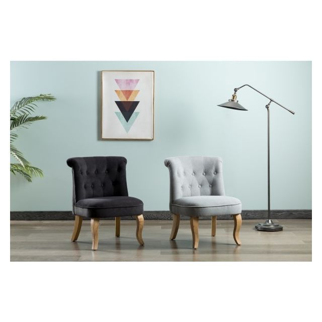 Moloo King fauteuil crapaud tissu gris pieds bois naturel