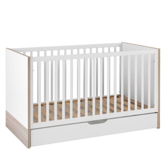 Tousmesmeubles Lit bébé évolutif à tiroir Blanc/Bois - Kiono
