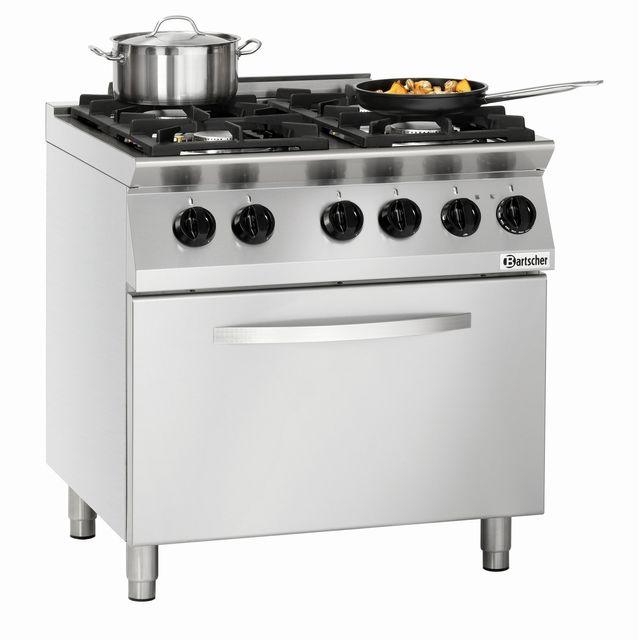 Bartscher Cuisiniere 4 feux Mfg 7340 avec four electrique Gn 2/1