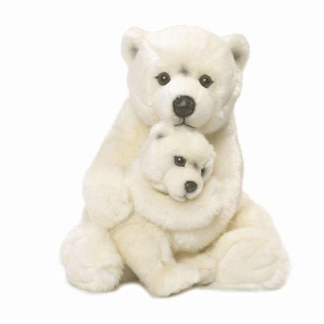Wwf 15187007 - Peluche - Maman Ours Polaire avec Bébé - 28 cm