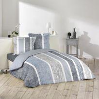 Douceur D'INTERIEUR - Housse de couette Textilio 240x260cm avec taies d'oreillers 100% coton 57fils/cm²
