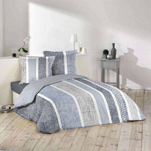 Douceur D'INTERIEUR Housse de couette Textilio 240x260cm avec taies d'oreillers 100% coton 57fils/cm²