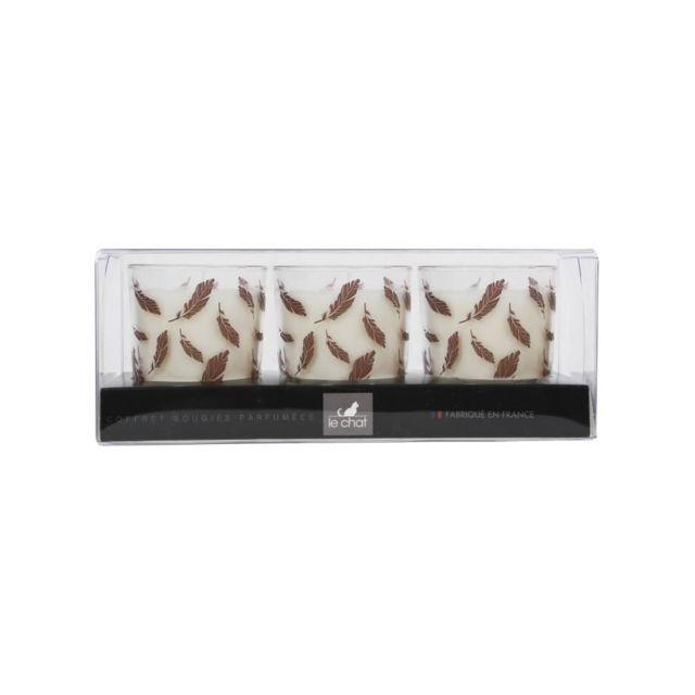 Le Chat Coffret de 3 bougies de Noël parfumées - Ø 5,5 x H 7 cm - Blanc - Plumes rose dorés