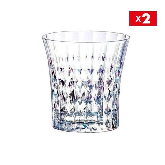 cristal d 39 arques lot de 2 verres forme basse 27 cl lady diamond pas cher achat vente. Black Bedroom Furniture Sets. Home Design Ideas