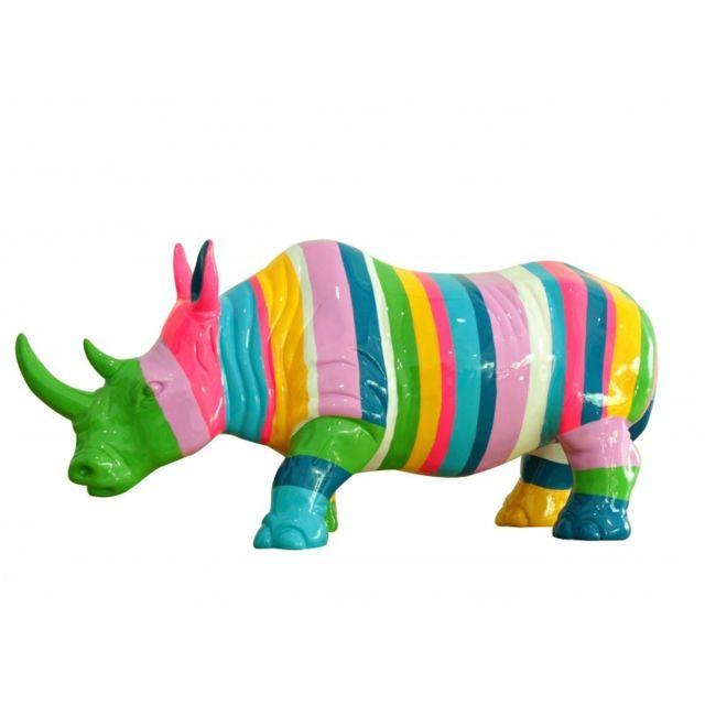 Meubletmoi Statue rhinocéros décoration multicolore corne verte