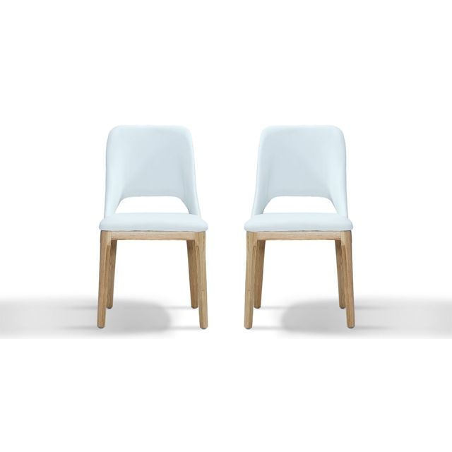 La Maison Du CanapÉ Chaise Design Mandy - Blanc - Lot de 2