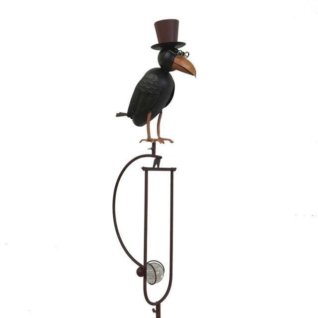 L'ORIGINALE Deco Mobile de Jardin Corbeau à Balancier Bascule Fer Métal 156 cm x 33 cm x 11 cm
