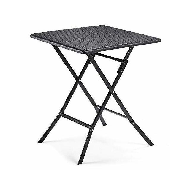 Petite Table de Jardin Pliante avec Surface en Plastique Aspect rotin  imperméable Pieds en Fer Pieds de Levage Barre de sécurité 62 x 62 x 73 cm  ...