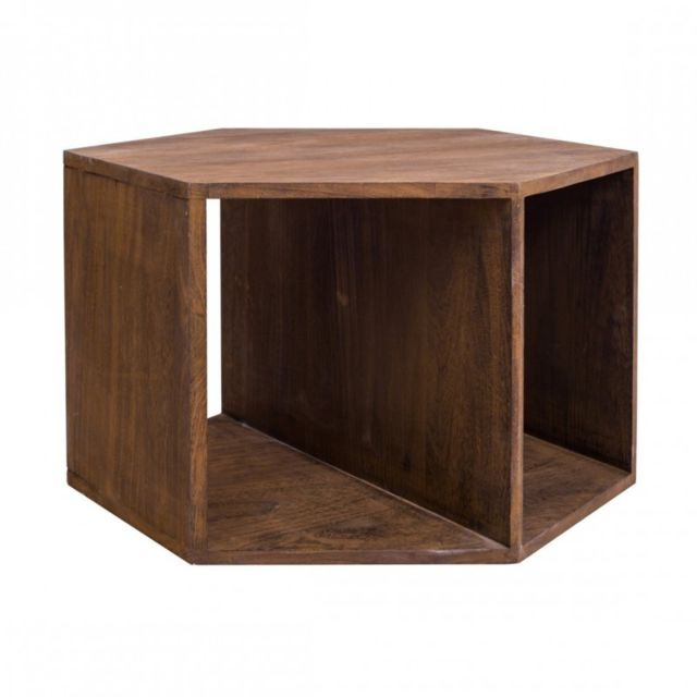 Mobili Rebecca Table de salon Basse Hexagonale Bois Marron Contemporain Sejour Entree