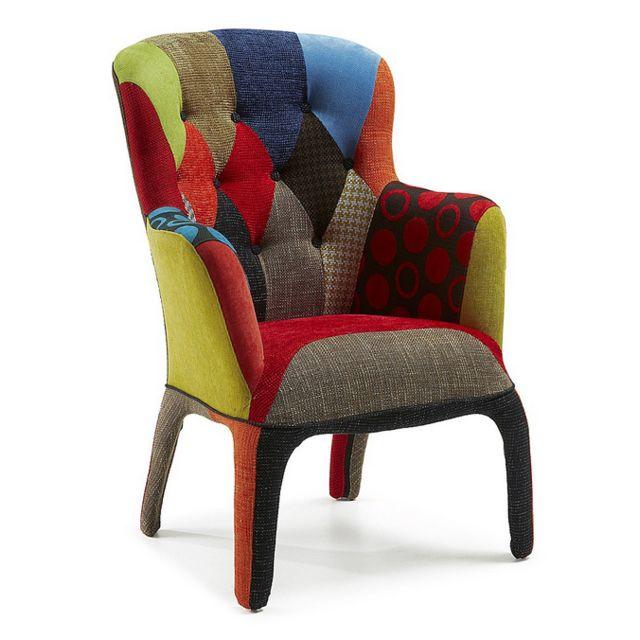 Sofamobili Fauteuil capitonné aux motifs patchwork en tissu design Frank