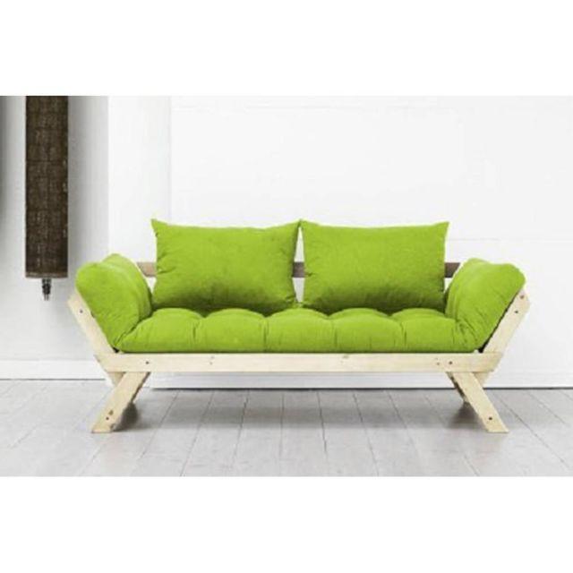 Inside 75 Banquette méridienne style scandinave futon lime Bebop couchage 75 200cm