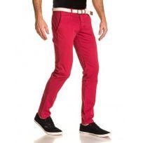 BLZ Jeans - Pantalon homme 5 poches chino rouge avec ceinture