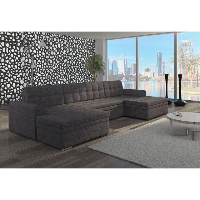 KASALINEA Canapé d'angle convertible panoramique beige ou gris YORK 3