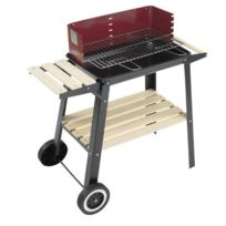 Cao Camping - Barbecue Chariot Sur Roues - 2 Servantes Bois