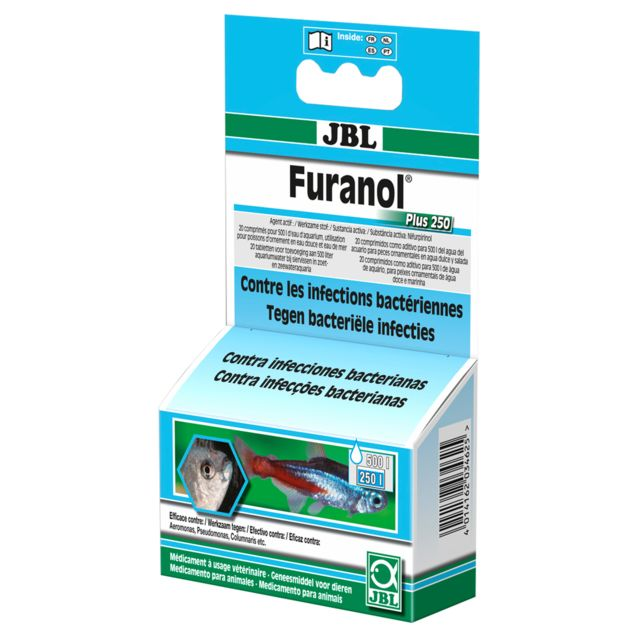 Jbl Comprimés Traitement contre les Infections Bactériennes Furanol Plus 250 pour Eau d'Aquarium - x20