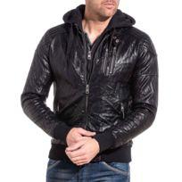 Veste cuir homme noir pas cher