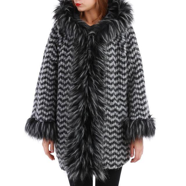 La Modeuse - Manteau noir en laine molletonnée et col fourrure - pas ... 032789b3d0c1