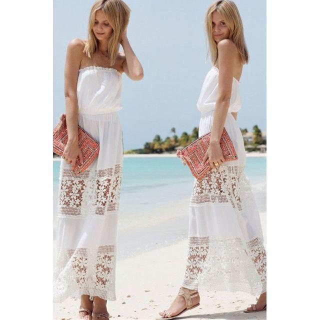 75874c81e32 Monpetitbikini - Robe longue de plage blanche - Xl - pas cher Achat ...