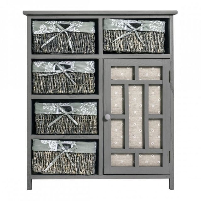 mobili rebecca meuble de rangement 5 paniers 1 port bois osier gris shabby chic cuisine bain. Black Bedroom Furniture Sets. Home Design Ideas