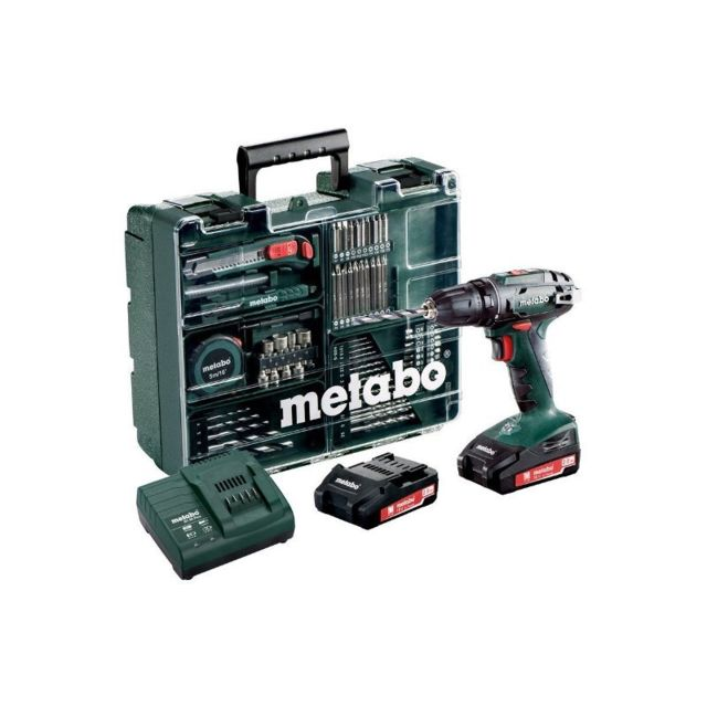METABO - BS18LI Perceuse-visseuse 18V 2x 2Ah, + accessoires en coffret