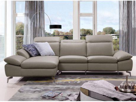 5744374682737b MARQUE GENERIQUE - Canapé d angle relax électrique en cuir de buffle  MARSALA - Taupe
