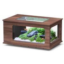 Aquatlantis - Aquarium table Led 100X63 cm noyer foncé